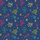 Colorful vector hand drawn doodles cartoon set of Space objects Stock Photography
