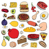 Colorful vector hand drawn food Royalty Free Stock Photos