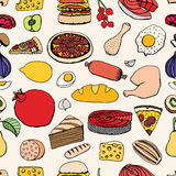 Colorful vector hand drawn food Royalty Free Stock Images