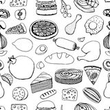Colorful vector hand drawn food Royalty Free Stock Photo