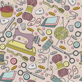 Colorful vector hand drawn seamless pattern of object Hand Made cartoon doodle Stock Photography