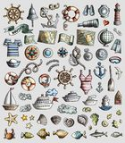 Vector set of Marine, Nautical cartoon 3d doodle objects. Colorful vector hand drawn set of Marine, Nautical cartoon 3d doodle objects, symbols and items Stock Photo