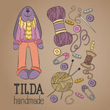 Colorful vector hand drawn set of object Hand Made Tilde doll hare cartoon doodle Royalty Free Stock Images
