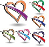 Colorful Vector Heart Icons Stock Image