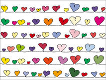 Colorful vector hearts background Stock Image