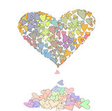 Colorful Vector hearts, hour-glass style. A huge heart filled with smaller hearts in pastel colors Royalty Free Stock Image