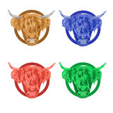 Colorful vector icons with the head of a bull. Red, green, blue and brown Royalty Free Stock Photos