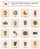 Colorful vector icons with line for healthy fast food cafe. Collection of 16 colorful vector icons for healthy fast food or fast casual restaurant or cafe stock illustration