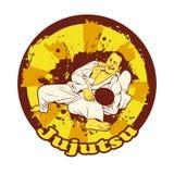Colorful vector illusnration with Brazilian Jiu Jitsu Fighters. Royalty Free Stock Photos