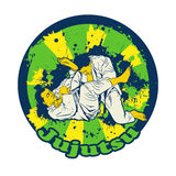 Colorful vector illusnration with Brazilian Jiu Jitsu Fighters. Two wrestlers on the mat for your design Stock Images