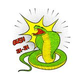 Colorful vector illustration of aggressive Cobra in the style of pop art.  Royalty Free Stock Photography