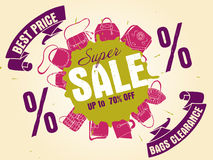 Colorful vector illustration of bags collection in colors Royalty Free Stock Photos