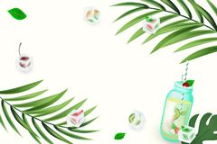 Hello summer. Seamless pattern with tropical cocktail, watermelons, palm branch, ice cubes on colorful years background. Colorful vector illustration for stock illustration