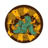 Colorful vector illustration with Brazilian Jiu Jitsu Fighters. Royalty Free Stock Image