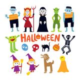 Halloween Monster Characters Set Royalty Free Stock Photos