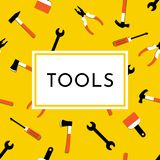 Vector illustration with hammer, nail puller, axe, saw, pliers, paintbrush, screwdriver. Home repair and work tools sign royalty free illustration