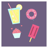 Colorful vector illustration of ice cream, lemonade, cupcake and donut Royalty Free Stock Images