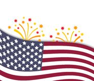 Colorful vector illustration of independence day. USA with national flag and fireworks, holiday card by July 4 Stock Photo