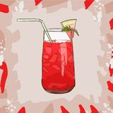 Background with glassware jar with watermelon fresh juice. Detox for health. Vector illustration. royalty free illustration