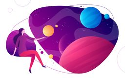 Colorful vector illustration on the topic of space, imagination, exploring, innovation, virtual and augmented reality.  royalty free illustration