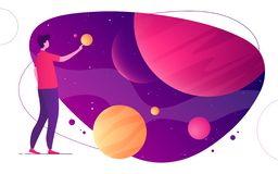 Colorful vector illustration on the topic of space, imagination, exploring, innovation, virtual and augmented reality.  vector illustration