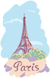 Colorful vector illustration of Tower Eiffel. Royalty Free Stock Images