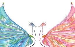 Colorful vector illustration of two abstract, stylized peacocks, opposite each other, with luxurious tails. Stock Image