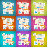 Colorful Vector Infographics Paper Layout Set Royalty Free Stock Images