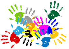 Colorful vector ink handprint. Colorful vector ink drops / splash / hand / fingerprint Stock Image