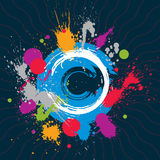 Colorful vector ink splash seamless pattern with overlap circles Royalty Free Stock Photos