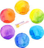Colorful vector isolated watercolor paint circles Stock Images