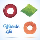 Colorful vector isolated watercolor paint elements Stock Photography