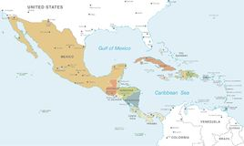 Colorful Vector map of Central America royalty free illustration