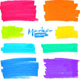 Colorful vector marker stains set. Colorful vector felt tip pen stains set royalty free illustration