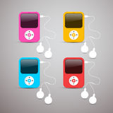 Colorful Vector Mp3 Players Set Stock Photography