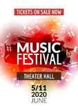Colorful vector music festival concert template flyer. Musical flyer design poster with notes Stock Photography