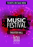 Colorful vector music festival concert template flyer. Musical flyer design poster with notes Royalty Free Stock Image