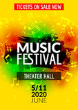 Colorful vector music festival concert template flyer. Musical flyer design poster with notes Stock Image