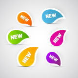 Colorful Vector New Labels, Stickers, Tags. Isolated on Grey Background Stock Image