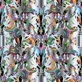 Colorful vector Paisley 3d seamless pattern. Floral ornamental silver background. Decorative ethnic style modern ornaments. Ornate multicolor paisley flowers Stock Photography