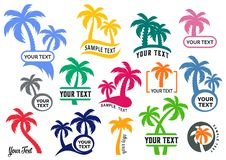 Colorful vector palm tree silhouette logo set stock illustration