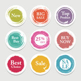 Colorful vector paper circle, sticker, label, banner with brush strokes. Stock Photo