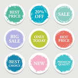 Colorful vector paper circle, sticker, label, banner with brush strokes. royalty free illustration
