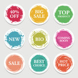 Colorful vector paper circle, sticker, label, banner with brush strokes. vector illustration