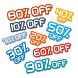 Colorful Vector Paper Cut Discount Stickers Royalty Free Stock Photography