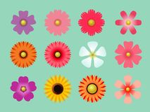 Colorful vector paper flowers set illustration royalty free illustration