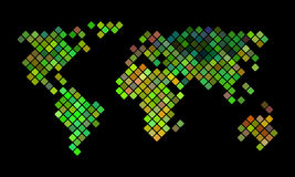 Colorful vector pixel world map Royalty Free Stock Images