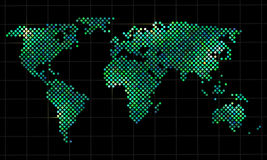 Colorful vector pixel world map Royalty Free Stock Image