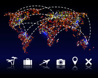 Colorful vector pixel world map with travel icons Royalty Free Stock Images