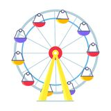 Colorful Vector Poster of Ferris Wheel on White. Vivid picture of Ferris Wheel with lots of colorful cabs for amusement park or playground for children. Isolated Royalty Free Stock Photo